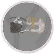 Round Beach Towel featuring the mixed media Medic by TortureLord Art
