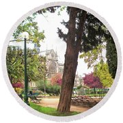 Round Beach Towel featuring the photograph Notre Dame From Square Rene Viviani by Felipe Adan Lerma