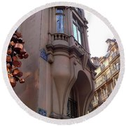 Angles And Details At Place Saint Andre Des Arts Round Beach Towel