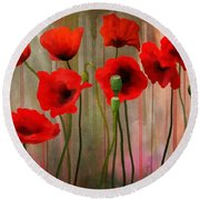 Round Beach Towel featuring the painting Poppies  by Ivana Westin