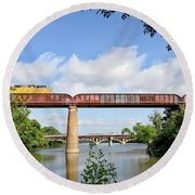 Round Beach Towel featuring the photograph Train Across Lady Bird Lake by Felipe Adan Lerma