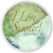 I Love Summer I Round Beach Towel