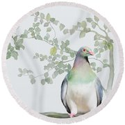Round Beach Towel featuring the painting Wood Pigeon by Ivana Westin