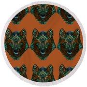 Zentangle Inspired Art- Wolf Colored Round Beach Towel