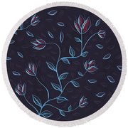 Glowing Blue Abstract Flowers Round Beach Towel