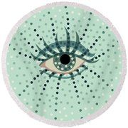 Beautiful Abstract Dotted Blue Eye Round Beach Towel