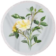 Round Beach Towel featuring the painting Yellow Watercolor Rose by Ivana Westin