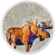 One Handsome Moose Round Beach Towel by Elaine Ossipov