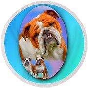 English Bulldog- No Border Round Beach Towel