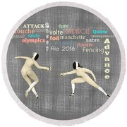 Round Beach Towel featuring the digital art Fencing Duo by Methune Hively