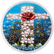 Cross Of Flowers Round Beach Towel by Kevin Middleton