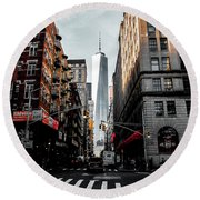 Round Beach Towel featuring the photograph Lower Manhattan One Wtc by Nicklas Gustafsson