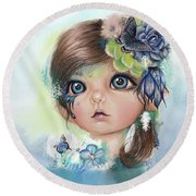 Round Beach Towel featuring the mixed media Indigo - Butterfly Keeper - Munchkinz By Sheena Pike  by Sheena Pike