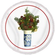 Snowflake Vase With Christmas Regalia Round Beach Towel