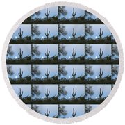 Sonoran Desert Moonset Round Beach Towel