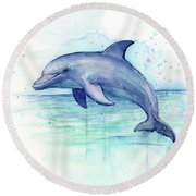 Dolphin Watercolor Round Beach Towel