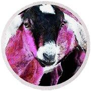 Pop Art Goat - Pink - Sharon Cummings Round Beach Towel by Sharon Cummings