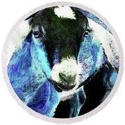 Goat Pop Art - Blue - Sharon Cummings Round Beach Towel by Sharon Cummings