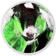 Goat Pop Art - Green - Sharon Cummings Round Beach Towel by Sharon Cummings