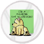 Cairn Terrier Sunshine Round Beach Towel