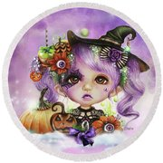 Round Beach Towel featuring the drawing Halloween Hannah - Munchkinz Character  by Sheena Pike