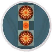 Pumpkin Mandala -  Round Beach Towel