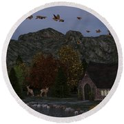Country Church Autumn At Twilight Round Beach Towel by Methune Hively