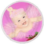 Magic Baby Face-pink Angle Round Beach Towel