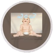 magic baby face-WOW Round Beach Towel