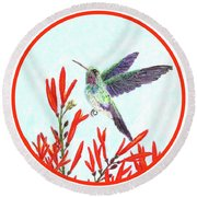 Hummingbird In Opening Round Beach Towel by Lise Winne
