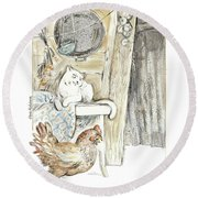 The Ugly Duckling - Bullied By Mean Hen And Proud White Cat - Illustration For Classic Fairy Tale Round Beach Towel