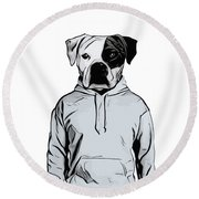 Round Beach Towel featuring the painting Cool Dog by Nicklas Gustafsson