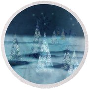 Winter Night Round Beach Towel by AugenWerk Susann Serfezi