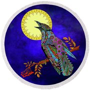 Round Beach Towel featuring the drawing Electric Crow by Tammy Wetzel
