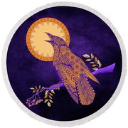 Round Beach Towel featuring the drawing Halloween Crow And Moon by Tammy Wetzel
