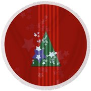 Stars And Stripes - Christmas Edition Round Beach Towel by AugenWerk Susann Serfezi