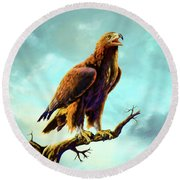 Golden Eagle Round Beach Towel by Anthony Mwangi
