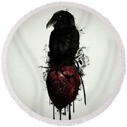 Raven And Heart Grenade Round Beach Towel