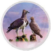Martial Eagles Round Beach Towel by Anthony Mwangi