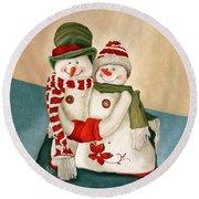 Mr. And Mrs. Snowman Vintage Round Beach Towel