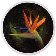 Extravagance - Tropical Bird Of Paradise Flower Round Beach Towel