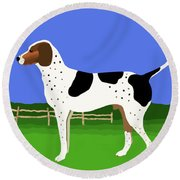 German Shorthaired Pointer In A Field Round Beach Towel