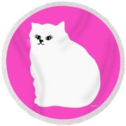 Cartoon Plump White Cat On Pink Round Beach Towel by Marian Cates