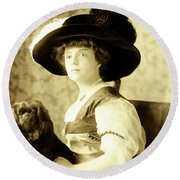 Vintage Lady With Lapdog Round Beach Towel