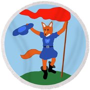 Reynard The Fairy Tale Fox Round Beach Towel by Marian Cates