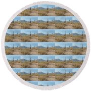Saguaros On A Hillside Round Beach Towel