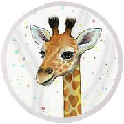 Baby Giraffe Watercolor With Heart Shaped Spots Round Beach Towel by Olga Shvartsur