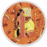 Bharat Round Beach Towel by Eva Campbell
