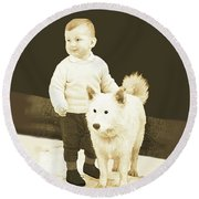 Sweet Vintage Toddler With His White Mutt Round Beach Towel by Marian Cates