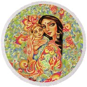 Goddess Blessing Round Beach Towel by Eva Campbell